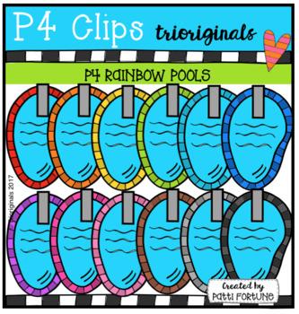 P4 RAINBOW Swimming Pools (P4 Clips Trioriginals Clip Art)