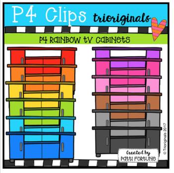P4 RAINBOW TV Cabinets (P4 Clips Trioriginals Clip Art)
