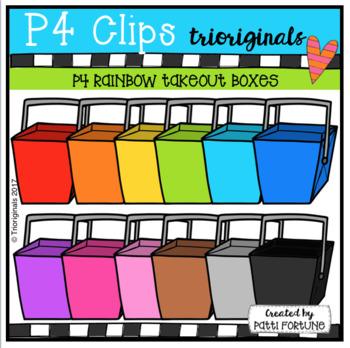 P4 RAINBOW Takeout Boxes (P4 Clips Trioriginals Clip Art)