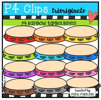 P4 RAINBOW Tambourines (P4 Clips Triorignals Clip Art)
