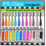 P4 RAINBOW Tooth Brush and Paste (P4 Clips Trioriginals Clip Art)