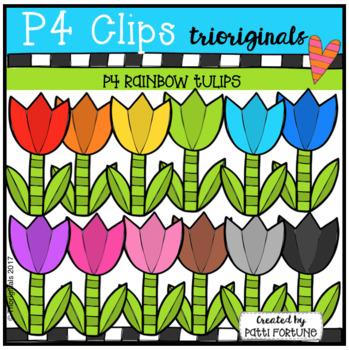 P4 RAINBOW Tulips (P4 Clips Trioriginals Clip Art)