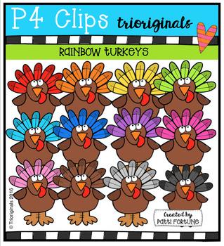 P4 RAINBOW Turkeys (P4 Clips Trioriginals Digital Clip Art)