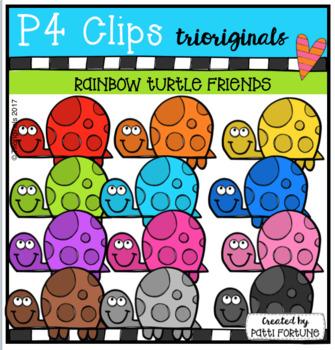 P4 RAINBOW Turtle Friends (P4 Clips Trioriginals Clip Art)