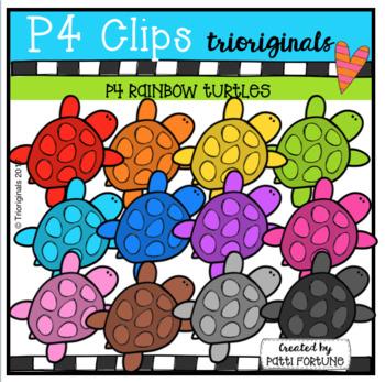 P4 RAINBOW Turtles (P4 Clips Trioriginals Clip Art)