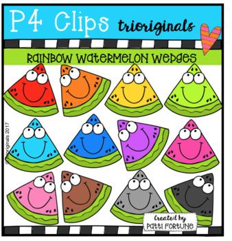 P4 RAINBOW Watermelon Wedges (P4 Clips Trioriginals Clip Art)