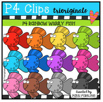 P4 RAINBOW Wiggly Fish (P4 Clips Trioriginals Clip Art)