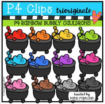 P4 RAINBOW Witch's Cauldrons (P4 CLips Trioriginals Clip Art)