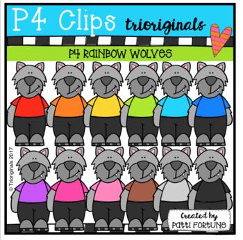 P4 RAINBOW Wolves (P4 Clips Trioriginals Clip Art)