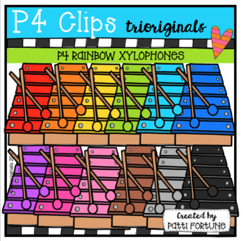 P4 RAINBOW Xylophones (P4 Clips Trioriginals Clip Art)