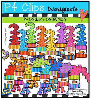 P4 SNAZZY Snowmen (P4 Clips Trioriginals Digital Clip Art)