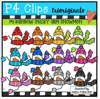 P4 STICKY RAINBOW Snowmen (P4 Clips Triorignals Clip Art)