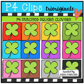 P4 STITCHED SQUARE Shamrocks (P4 Clips Trioriginals)