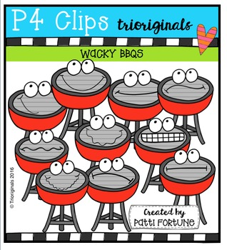 P4 WACKY BBQ Buddies {P4 Clips Trioriginals Digital Clip Art}