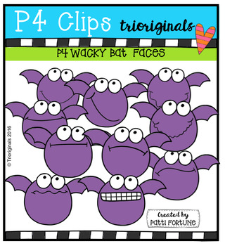 P4 WACKY Bat Faces (P4 Clips Trioriginals Digital Clips Art)