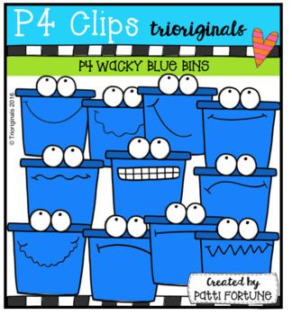 (50% OFF) P4 WACKY Blue Bins (P4 Clips Trioriginals Clip Art)
