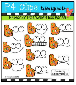 P4 WACKY Boo Faces (P4 Clips Trioriginals Digital Clip Art)
