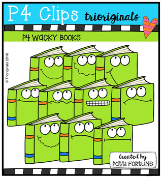 P4 WACKY Books (P4 Clips Trioriginals Digital Clip Art)