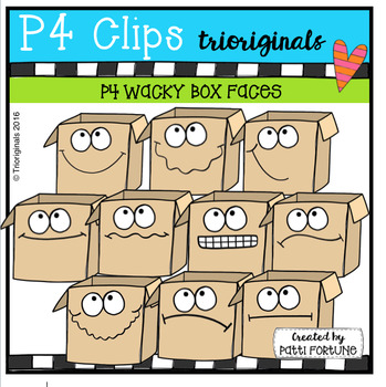P4 WACKY Box Faces (P4 Clips Trioriginals Digital Clip Art)