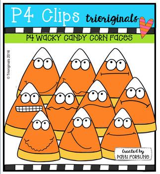 P4 WACKY Candy Corn Faces (P4 Clips Trioriginals Digital Clip Art)