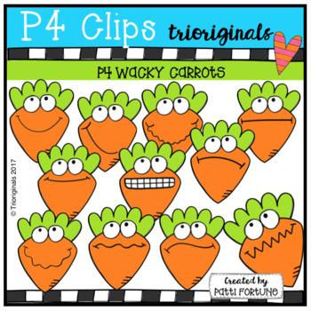 P4 WACKY Carrots (P4 Clips Trioriginals Clip Art)
