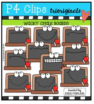 P4 WACKY Chalk Boards (P4 Clips Trioriginals Digital Clip Art)