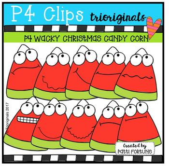 P4 WACKY Christmas Candy Corn (P4 Clips Trioriginals Clip Art)