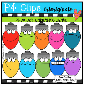 P4 WACKY Christmas Lights (P4 Clips Trioriginals Digital Clip Art)
