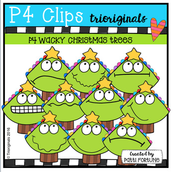 P4 WACKY Christmas Trees (P4 Clips Trioriginals Digital Clip Art)