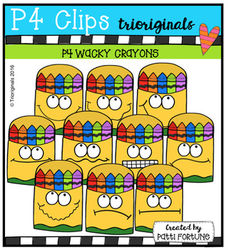 P4 WACKY Crayons (P4 Clips Trioriginals Digital Clip Art)