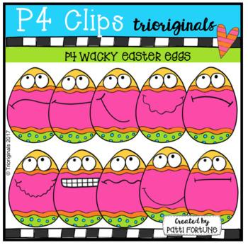 P4 WACKY Easter Eggs (P4 Clips Trioriginals Clip Art)