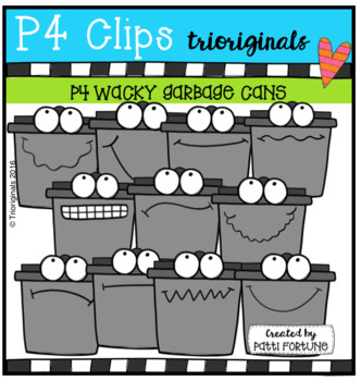 P4 WACKY Garbage Cans (P4 Clips Trioriginals Clip Art
