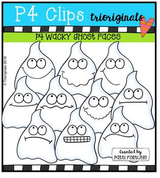 P4 WACKY Ghost Faces (P4 Clips Trioriginals Digital Clip Art)