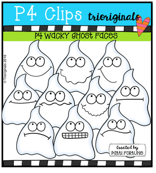 P4 WACKY Ghost Faces (P4 Clips Trioriginals Digital Clip Art)