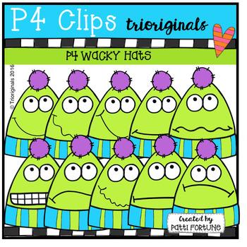 P4 WACKY Hat Faces (P4 Clips Trioriginals Digital Clip Art)