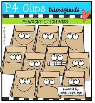 P4 WACKY Lunch Bags (P4 Clips Trioriginals Digital Clip Art)