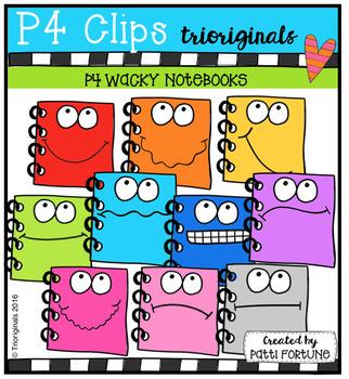P4 WACKY Note Books (P4 Clips Trioriginals Digital Clip Art)