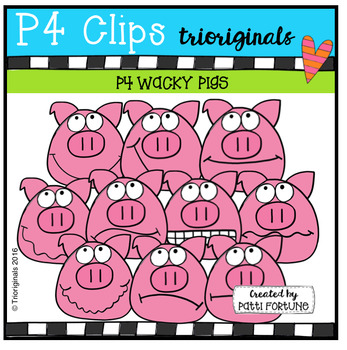 P4 WACKY Pig Faces (P4 Clips Trioriginals Digital Clip Art)