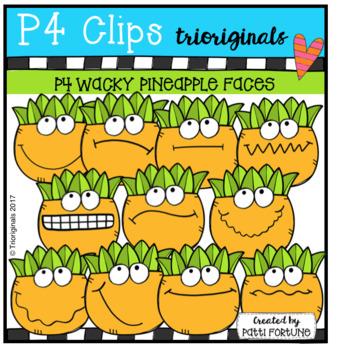 (50% OFF) P4 WACKY Pineapple Faces (P4 Clips Trioriginals Clip Art)