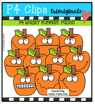 P4 WACKY Pumpkin Faces (P4 Clips Trioriginals Digital Clip Art)