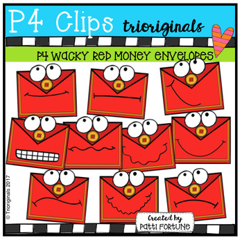 P4 WACKY Red Envelopes (P4 Clips Trioriginals Clip Art)