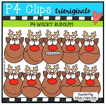 P4 WACKY Rudolphs (P4 Clips Trioriginals Digital Clip Art)