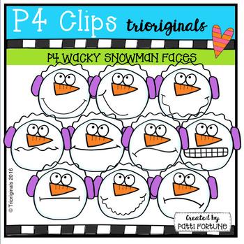 P4 WACKY Snowman Faces (P4 Clips Trioriginals Digital Clip Art)