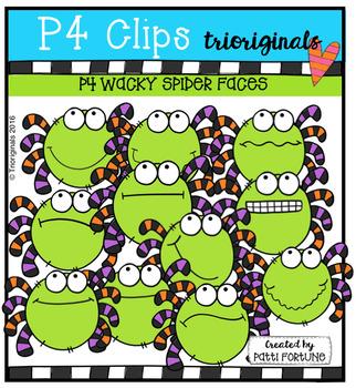 P4 WACKY Spider Faces (P4 Clips Trioriginals Digital Clip Art)