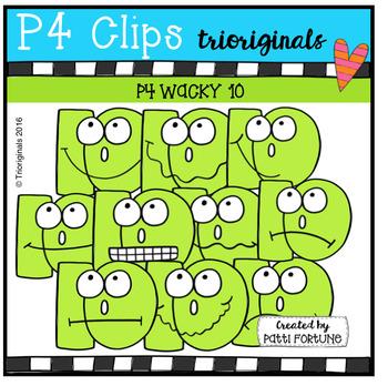 P4 WACKY Ten Faces (P4 Clips Trioriginals Digital Clip Art)