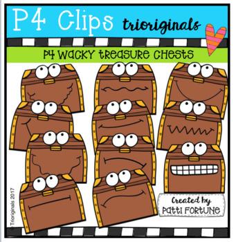 P4 WACKY Treasure Chest Faces (P4 Clips Trioriginals Clip Art)