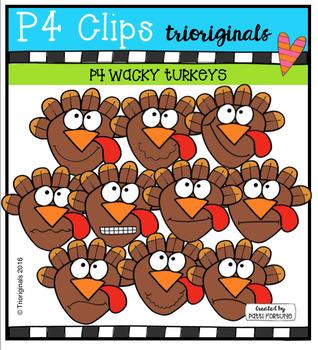 P4 WACKY Turkeys (P4 Clips Trioriginals Digital Clip Art)