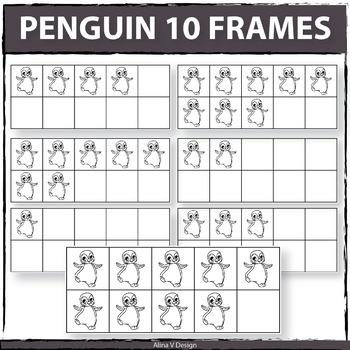 Penguin 10 Frames Clipart