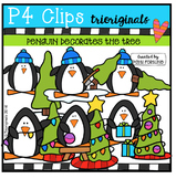 Penguin Decorates the Tree (P4 Clips Trioriginals Digital Clip Art)