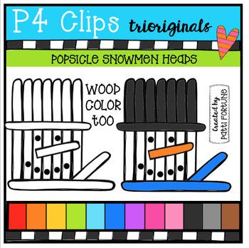 Popsicle Snowmen Heads (P4 Clips Trioriginals Digital Clip Art)